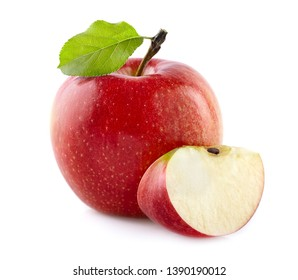 Red apple with leaf in closeup