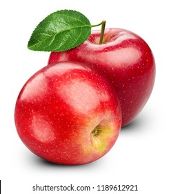 Red apple with leaves isolated on white Clipping Path