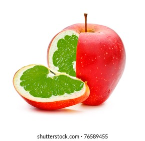 red apple with lime fillings, genetically modified organism
