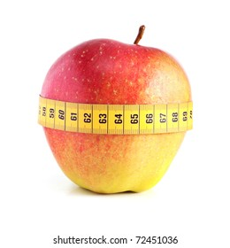 Red apple with measurement isolated on white.