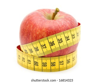 red apple in measuring tape on white background