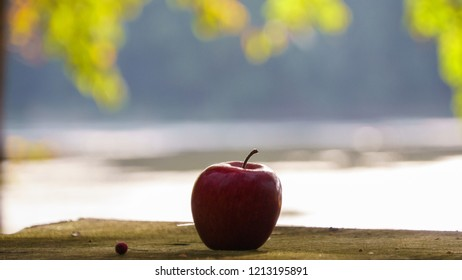 Red apple on the wooden table with bokeh