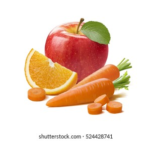 Red apple, orange citrus and carrot isolated on white background as package design element