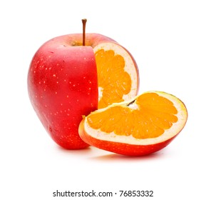 red apple with orange fillings, genetically modified organism