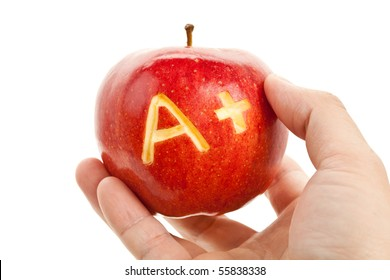 Red apple and A Plus sign, Concept of learning