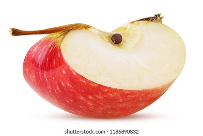Red apple slice isolated on white background. Clipping Path. Full depth of field.