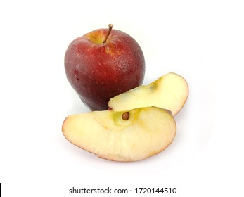 Red apple with sliced isolated on white background can be use for template, illustration, pattern, design element
