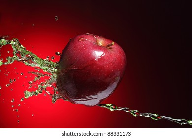 red apple in stream