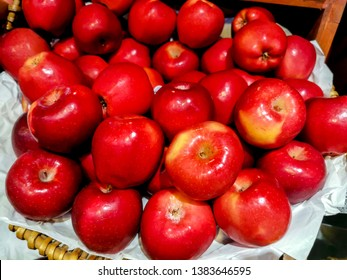 Red apple in the supermarket