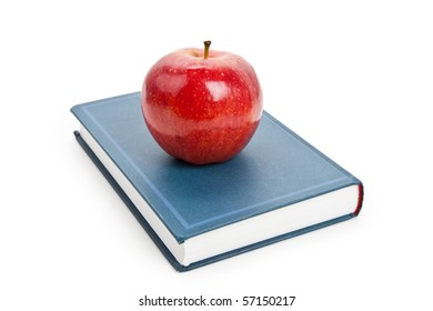 Red apple and Textbook close up