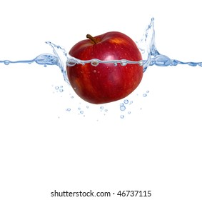 red apple thrown into the pure clear water