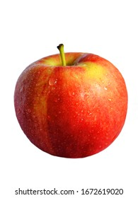 Red apple in water drops, red apple covered with drops, red and yellow apple, isolated apple
