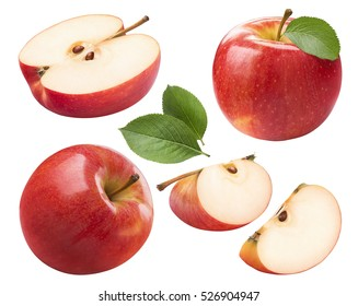 Red apple whole pieces set isolated on white background as package design element