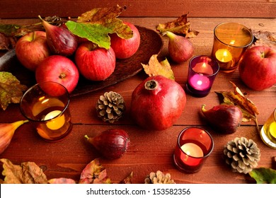 Red apples with autumn fruits.image of autumn season.