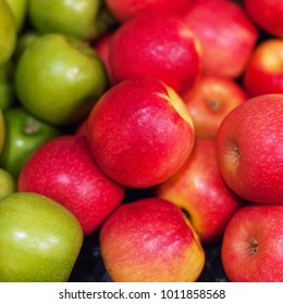Red apples background. Organic Ripe apples  at  market. Harvesting concept