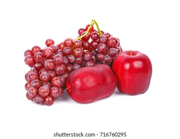 red apples and grapes isolated on white