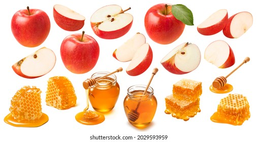 Red apples and honey isolated on white background. Jewish New Year celebration set. Package design elements with clipping path