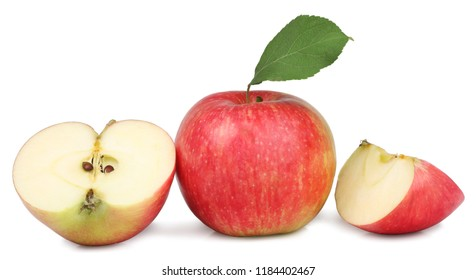Red apples isolated on white background .