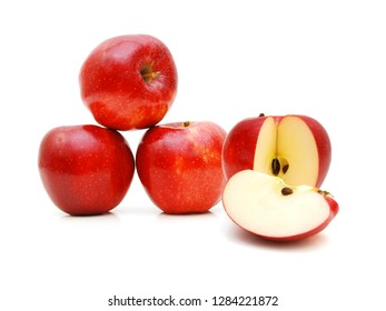 Red apples isolated on white background