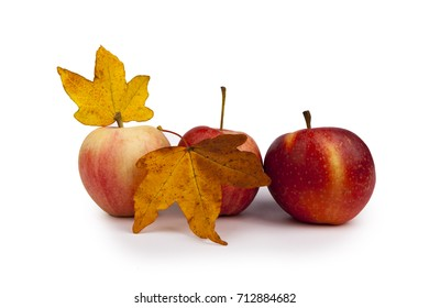Red apples with leaves,isolated