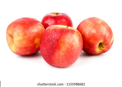 Red apples  (Malus domestica Cripps Pink) isolated on white background. Organic fruits for a healthy diet and lifestyle
