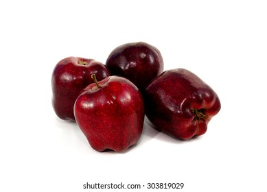 Red apples on white background.