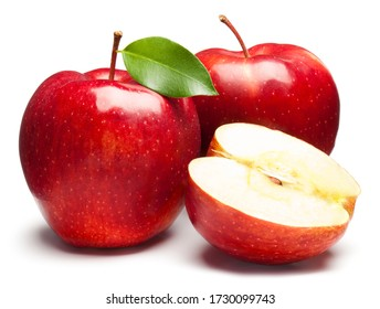 Red Apples on white. This file is cleaned, retouched and contains clipping path. - Shutterstock ID 1730099743
