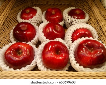 Red apples with packing foam net
