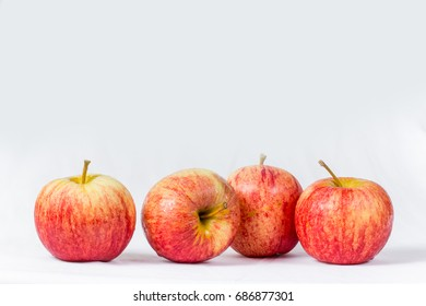 Red apples, white background