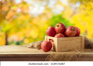 Red apples in wooden box on table. Autumn and fall harvest background