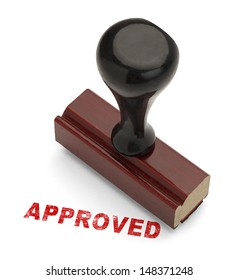 Red Approved Stamp with Wooden handle Rubber Stamper Isolated on White Background.