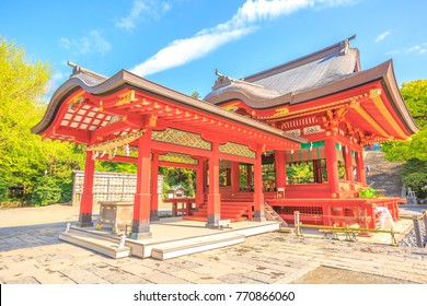 Red architecture of Tsurugaoka Hachiman, the most important Shinto shrine in the city of Kamakura, Kanagawa Prefecture of Japan. Springtime in the blue sky.