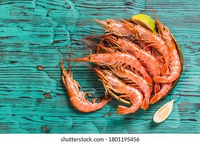 Red Argentine wild shrimps ocean jumbo shrimps copy space.