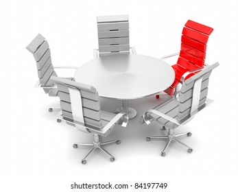 Red armchair for the boss among other gray armchairs and round table
