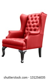 sillón rojo aislado en blanco.