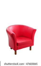 Red armchair isolated on the white background.