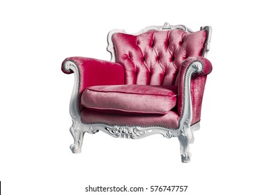 Red armchair isolated on the white background