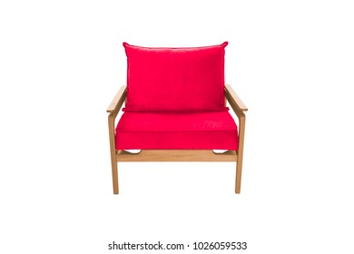 Red armchair. Modern designer chair on white background. Texture chair.