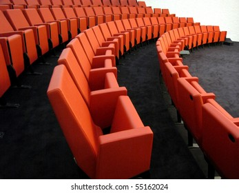red armchairs in conference room