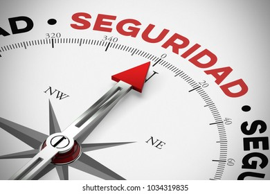 "Red arrow from a compass points to spanish word ""Seguridad"" (safety) as a concept (3D Rendering)"