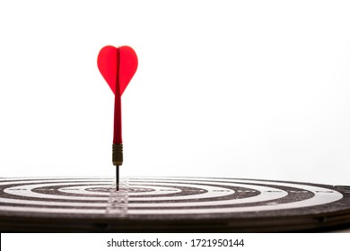 Red arrow dart hit to center of target board on white background. Business investment target concept.