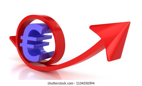 Red arrow and euro sign