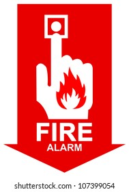 Red Arrow Fire Alarm Sign Present with Isolated on White Background