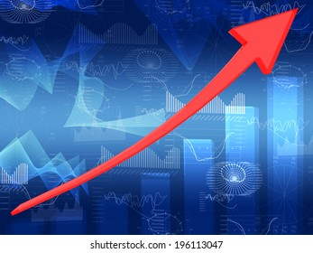 Red arrow and glowing graphs. Hi-tech technological background