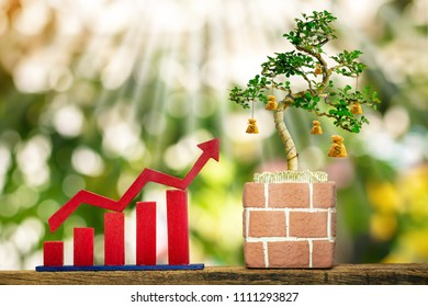 Red arrow graph and bar and a money bag of bonsai tree produce with growing of coin in the pot, Saving money or loan for business investment concept.