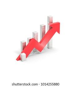 Red arrow and graph. Growing business concept. 3D rendering.