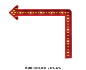 red arrow with light bulbs at a 90 degree angle on white background