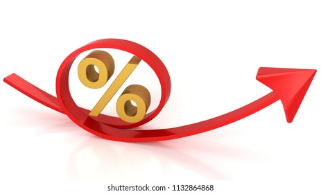 Red arrow and percent,3D rendering