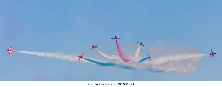 The Red Arrows performing at Duxford Sept 2016