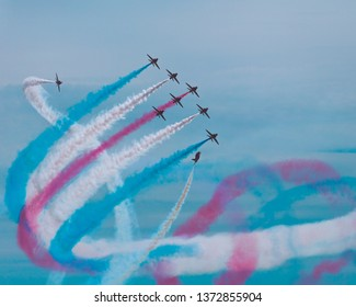 Red arrows in the sky during 2018 air show in weston Super Mare